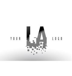 La l a pixel letter logo with digital shattered vector