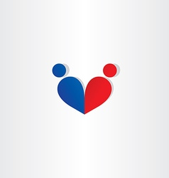 man and woman heart love blue red icon vector image vector image