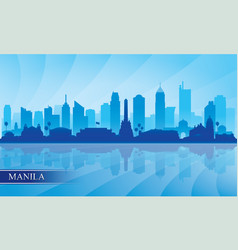Manila city skyline silhouette background vector
