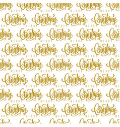 merry christmas golden lettering seamless pattern vector image