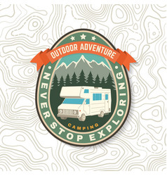 never stop exploring summer camp concept vector image