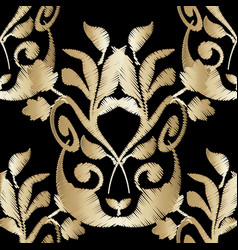 Ornate embroidery gold baroque 3d seamless vector