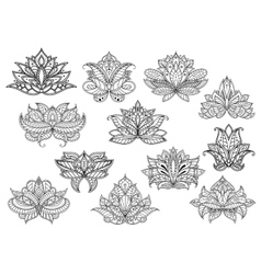 Paisley flowers with persian and turkish ornament vector