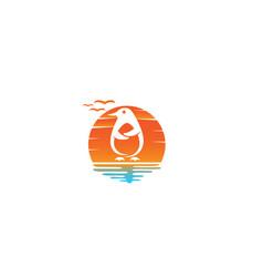 Penguin cute animal for logo design in a sun vector
