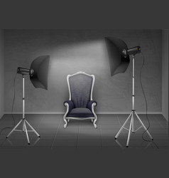 Photo studio with armchair and softboxes vector