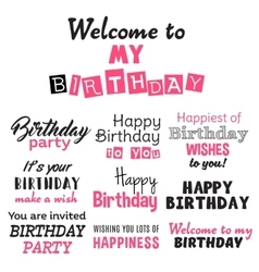Pink happy birthday typography text isolated on vector