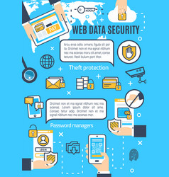 Poster of web data and internet security vector