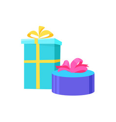presents in festive paper round square gift vector image