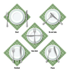 Proper table etiquette instructions how to place vector