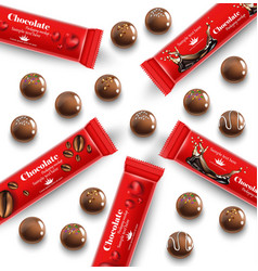 red chocolates truffles realistic product vector image