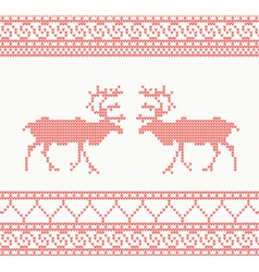 Red knitted pattern with deer vector