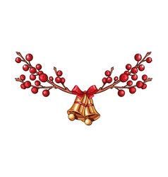 red xmas berries branch isolated border or vector image
