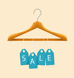sale clothes hanger blue tag sale background vector image