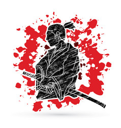 Samurai ready to fight action vector