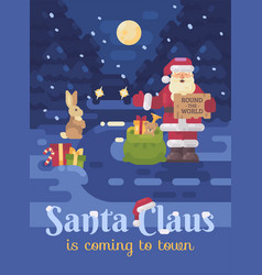 santa claus lost his sleigh and reindeer and is vector image