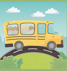 school bus transport with group kids in the vector image