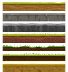 Seamless grounds soil and grass for ui game vector