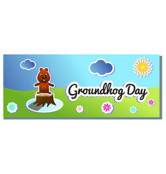 second february greeting groundhog day color vector image