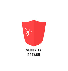 Security breach with red abstract shield vector