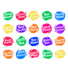 set of labels for food vector image