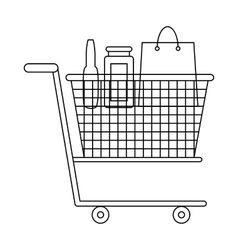 Shopping cart with grocery products icon vector