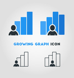 simple business icon of businessman with growing vector image