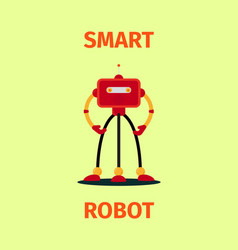 Smart red robot poster vector