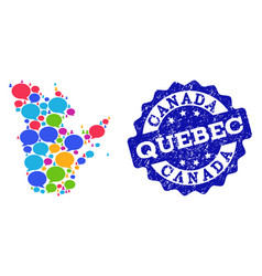 Social network map of quebec province with message vector