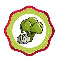 Sticker broccoli and garlic vegetable icon vector