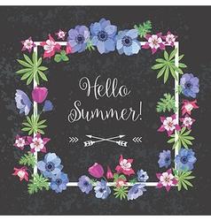 Summer Floral Frame Flower Design for T-shirt vector