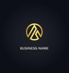 triangle round gold business logo vector image