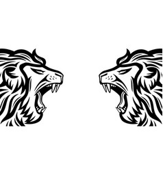 Two angry roaring lions vector