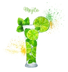 Watercolor Mojito Cocktail on the White Background vector image
