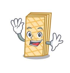 Waving waffle character cartoon style vector