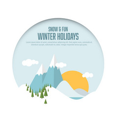 Winter holidays card with snowy landscape vector