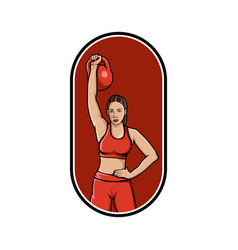 woman gym mascot logo womens logo lifts the vector image