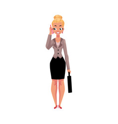 Young blond businesswoman with briefcase calling vector