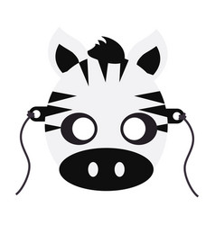 zebra carnival mask striped black white animal vector image