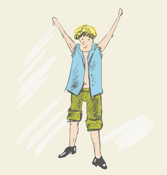 a blonde teenager raised his hands up vector image