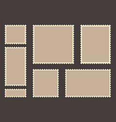 blank post stamp set empty postage stamp vintage vector image vector image