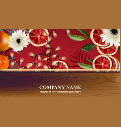 christmas card with red orange slices and lights vector image vector image