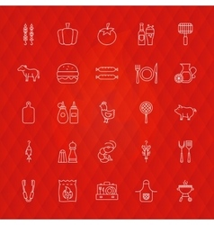 Barbecue Line Icons vector image