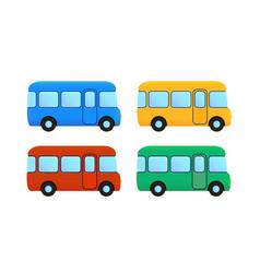 Cartoon bus icon set color car vector