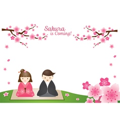Cherry Blossoms and Japanese Couple Background vector image