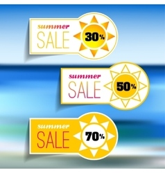 Colorful summer sale tags set vector image