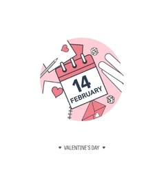 February 14 calendar icon Valentines day Love vector image