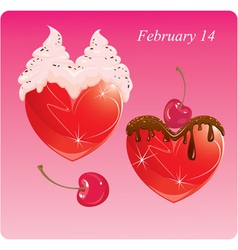 Hearts with chocolate and cream Valentines Card vector image