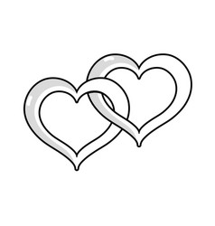 Line nice heart symbol to love and passion vector