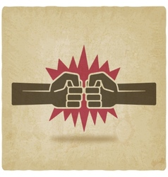 punch fists fight symbol old background vector image