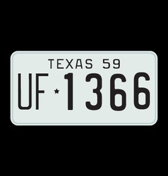 Texas 1959 license plate vector image